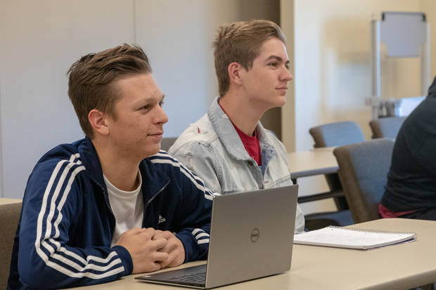 Newcastle High School juniors Josh Lewis and Blake Sanders take American Government while receiving both high school and college credit. (Photo provided by MACU)