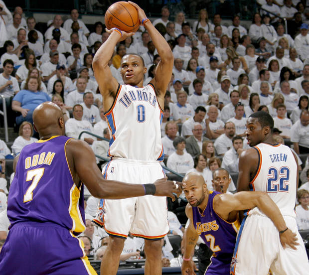 photo - Oklahoma City guard Russell Westbrook, center, proved to be an offensive force in the Thunder's playoff series against the Los Angeles Lakers. PHOTO BY NATE BILLINGS, THE OKLAHOMAN