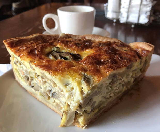 This green chili-mushroom quiche can be found in Santa Fe, New Mexico. [Dave Cathey/The Oklahoman]