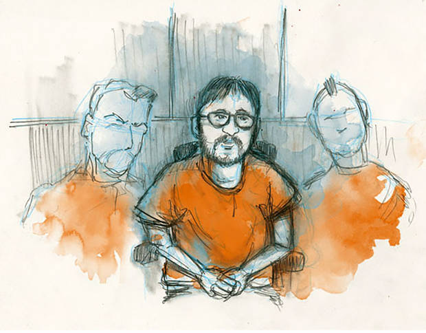 In this courtroom sketch, Jerry Drake Varnell, 23, is shown at his arraignment in Oklahoma City federal court. [Illustration by Todd Pendleton, The Oklahoman]