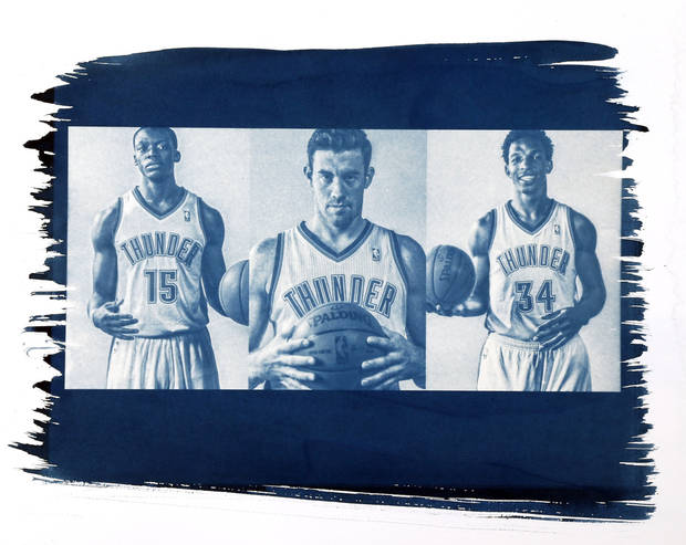 photo - From left, Oklahoma City's Reggie Jackson (15), Nick Collison (4) and Hasheem Thabeet (34). Photo by Chris Landsberger, The Oklahoman. Cyanotype print by Nate Billings, The Oklahoman