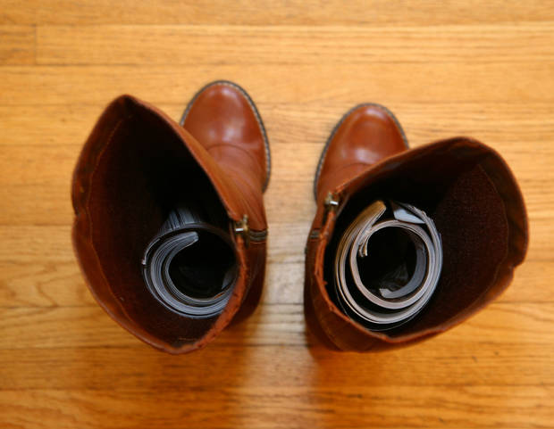 photo - Rolled-up magazines are a great way to keep boots standing tall. (Sally McGraw/Minneapolis Star Tribune/MCT)