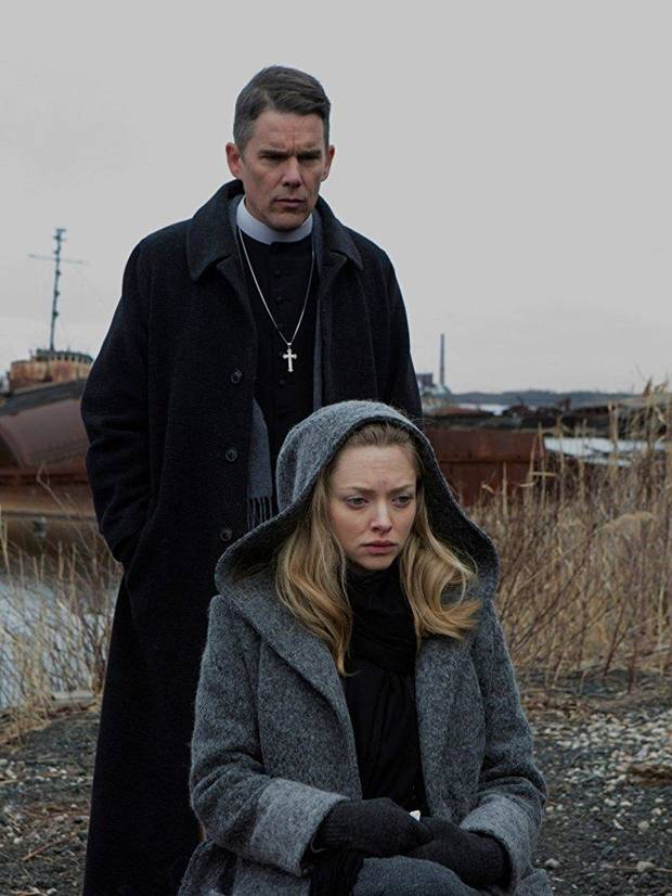 "Ethan Hawke and Amanda Seyfried star in a scene from the thriller ""First Reformed."" A24 photo"