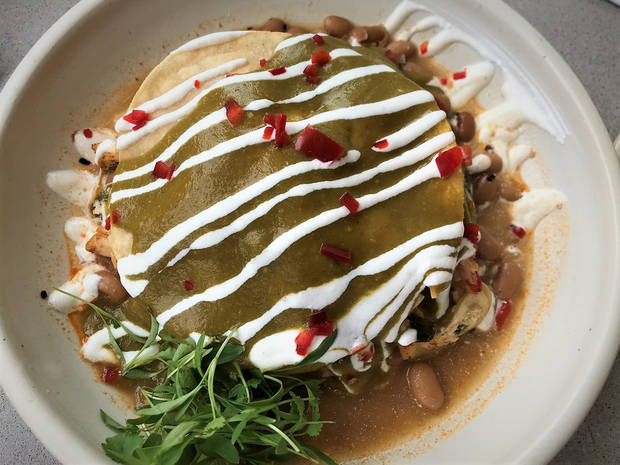 Smokestack Enchiladas from Frida Southwest, which opens in the Paseo Arts District on Friday. [Dave Cathey/The Oklahoman]