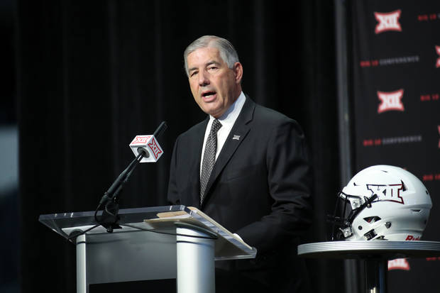 Jul 15, 2019; Arlington, TX, USA; Big 12 commissioner Bob Bowlsby speaks to the media during Big 12 media days at AT&T Stadium. Mandatory Credit: Kevin Jairaj-USA TODAY Sports
