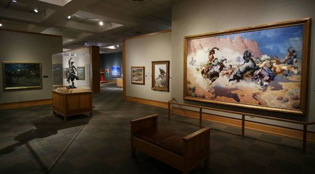 """The Leader's Downfall,"" by William R. Leigh, is on view in the National Cowboy & Western Heritage Museum's newly remodeled Atherton Gallery on September 12, 2020. [Doug Hoke/The Oklahoman]"