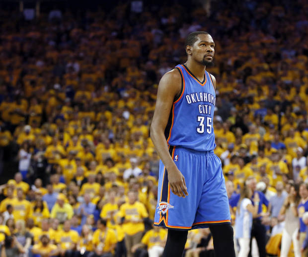 Oklahoma City's Kevin Durant (35) during Game 7 of the Western Conference finals in the NBA playoffs between the Oklahoma City Thunder and the Golden State Warriors at Oracle Arena in Oakland, Calif., Monday, May 30, 2016. Golden State won 96-88. Photo by Nate Billings, The Oklahoman