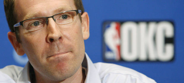 photo - Sam Presti, general manager of the Oklahoma City Thunder, listens to a question during a press conference at the Skirvin Hilton Hotel in Oklahoma City in July. PHOTO BY NATE BILLINGS, THE OKLAHOMAN