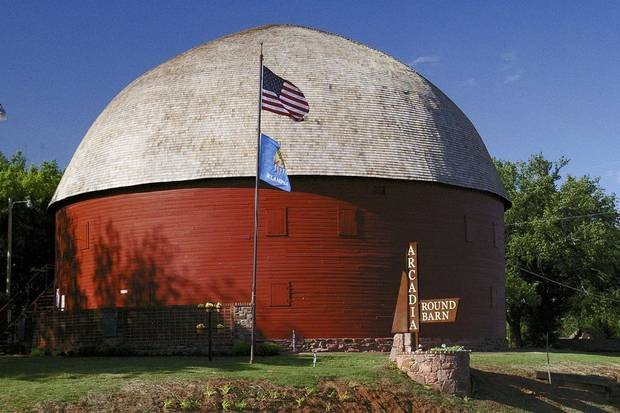 The Arcadia Round Barn is six miles east of Interstate 35 on Historic Route 66. [Photo provided]