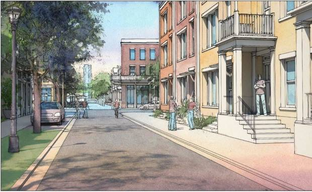photo -  Intimate residential streets are envisioned as part of the future Wheeler neighborhood being developed at the former Downtown Airpark along the Oklahoma River.    Dover-Kohl