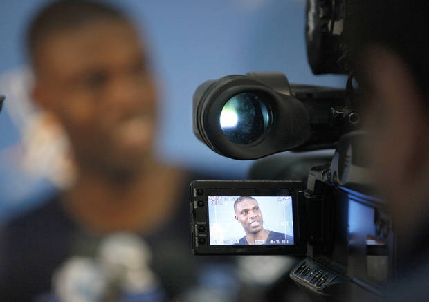 photo - Oklahoma City's Nazr Mohammed talks to the media at the Thunder practice facility, Saturday, Feb, 26, 2011, in Oklahoma City. Photo by Sarah Phipps, The Oklahoman