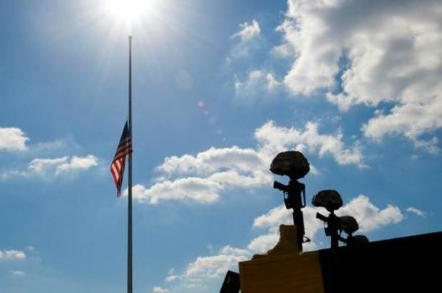 This photo, from the U.S. Department of Defense, shows an American flag at Fort Hood resting at half-staff on Nov. 10, 2009, during a memorial ceremony in honor of the victims of the Nov. 5, 2009 shooting rampage.