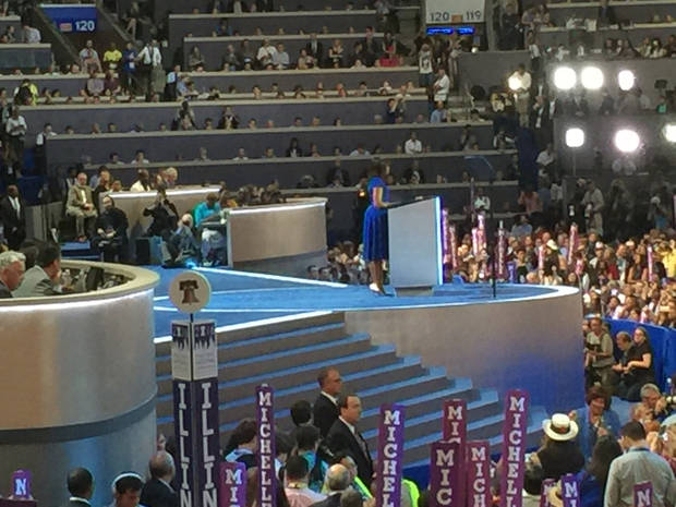 Michelle Obama's  speech. -- Photo via Bill Dower, an Oklahoma delegate attending the Democratic National Convention in Philadelphia.