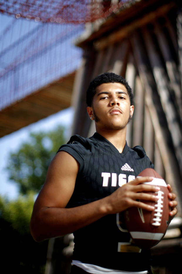Broken Arrow's Myles Slusher poses for a photo for The Oklahoman's Super 30 high school football player series at The Gathering Place in Tulsa, Okla., Thursday, June 20, 2019. [Bryan Terry/The Oklahoman]