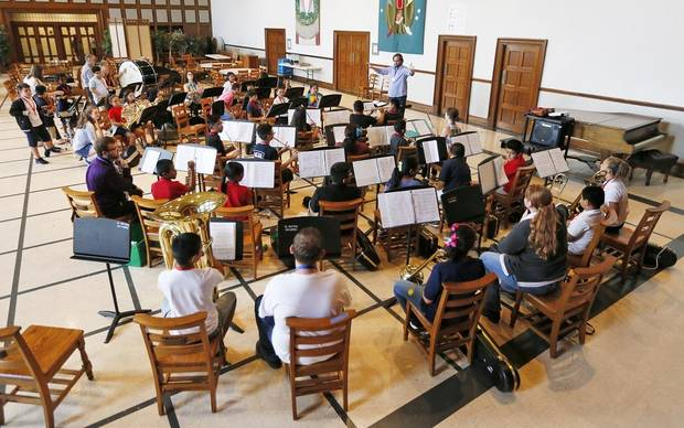 A beginning concert band rehearses during El Sistema Oklahoma after-school sessions at First Presbyterian Church, 1001 NW 25, in Oklahoma City, Friday, Aug. 17, 2018. [The Oklahoman Archives]