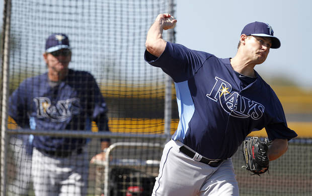 photo - MAJOR LEAGUE BASEBALL: The Tampa Bay Rays' Jamey Wright throws live batting practice during spring training on Tuesday, February 19, 2013, in Port Charlotte, Florida. (James Borchuck/Tampa Bay Times/MCT) ORG XMIT: 1135143