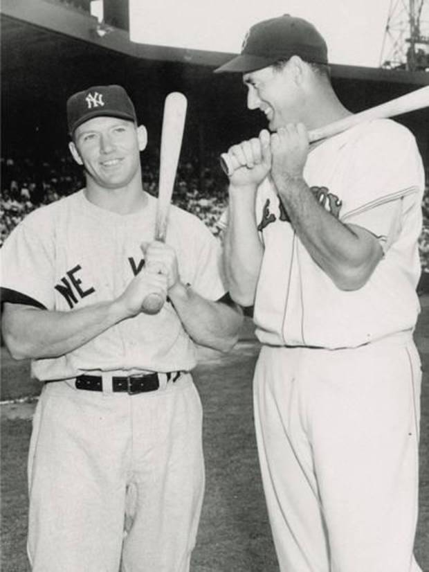 Mickey Mantle of the New York Yankees, at left, and Ted Williams of the Boston Red Sox. AP Photo