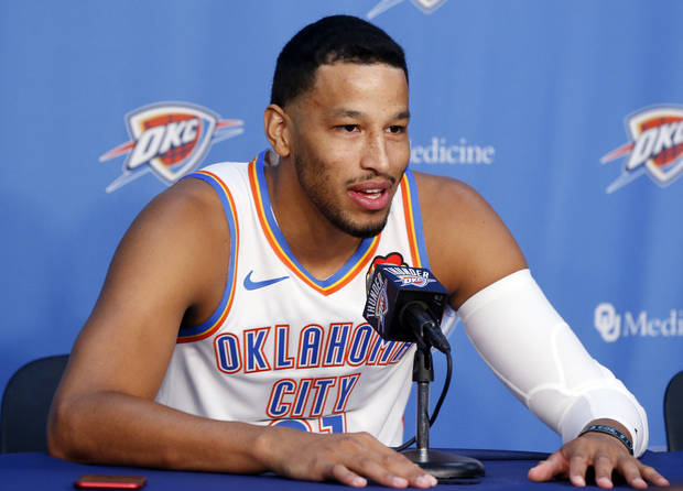 Oklahoma City's Andre Roberson speaks to the media during media day for the Oklahoma City Thunder NBA basketball team at Chesapeake Energy Arena in Oklahoma City, Monday, Sept. 30, 2019. [Nate Billings/The Oklahoman]