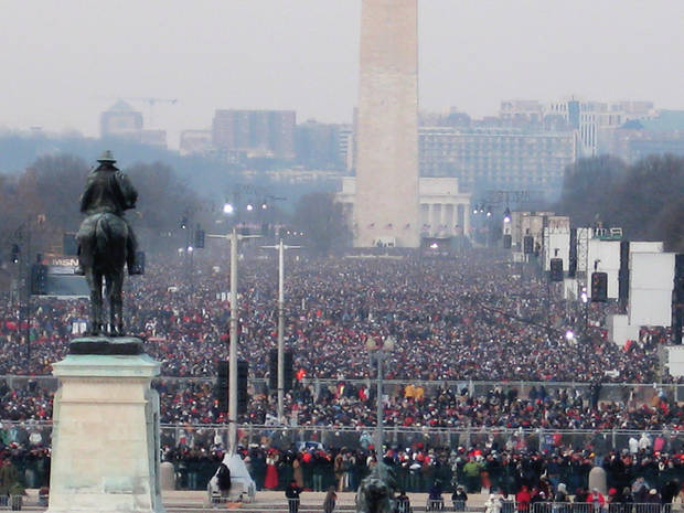 photo - More than a million people jammed the National Mall in Washington on Tuesday for the inauguation of President Barack Obama. By Chris Casteel, The Oklahoman