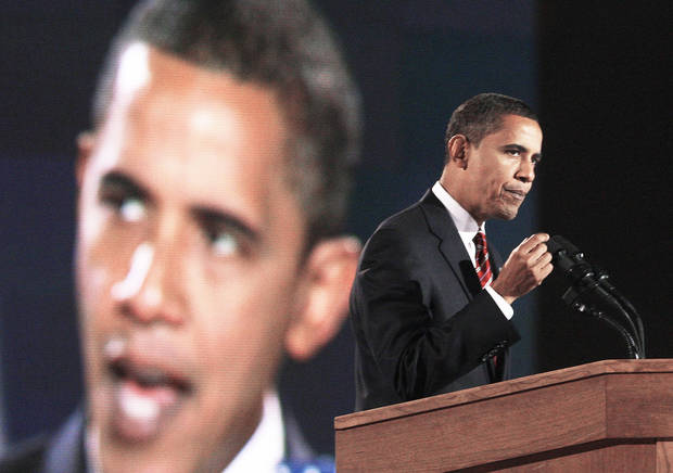 photo - President-elect Barack Obama gives his acceptance speech Tuesday in Chicago Tuesday. AP PHOTO