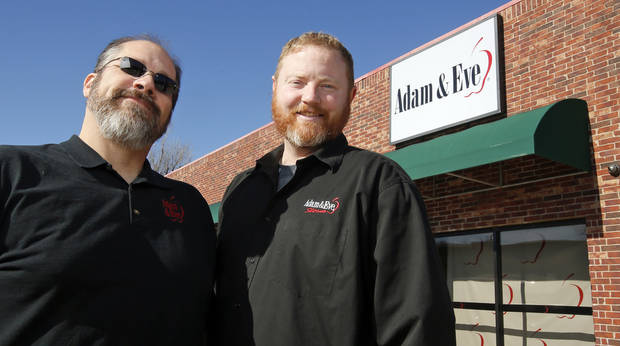 Lennox Ryerson-Gonzalez, left, and Andrew Ryerson-Gonzalez are proprietors of the Adam & Eve shop at NW 70 Street and May Avenue. [The Oklahoman]