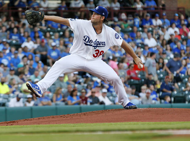 Clayton Kershaw pitches for Oklahoma City during a Triple-A baseball game between the Oklahoma City Dodgers and the Omaha Storm Chasers at the Chickasaw Bricktown Ballpark in Oklahoma City, Saturday, Aug. 26, 2017. The Los Angeles pitcher was on a rehab assignment in Oklahoma City. Photo by Nate Billings, The Oklahoman