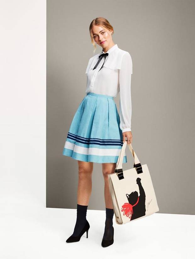 Jason Wu for Target collared ribbon detail blouse, $30 striped pleated A-line skirt, $30 and Milu print tote handbag, $30.