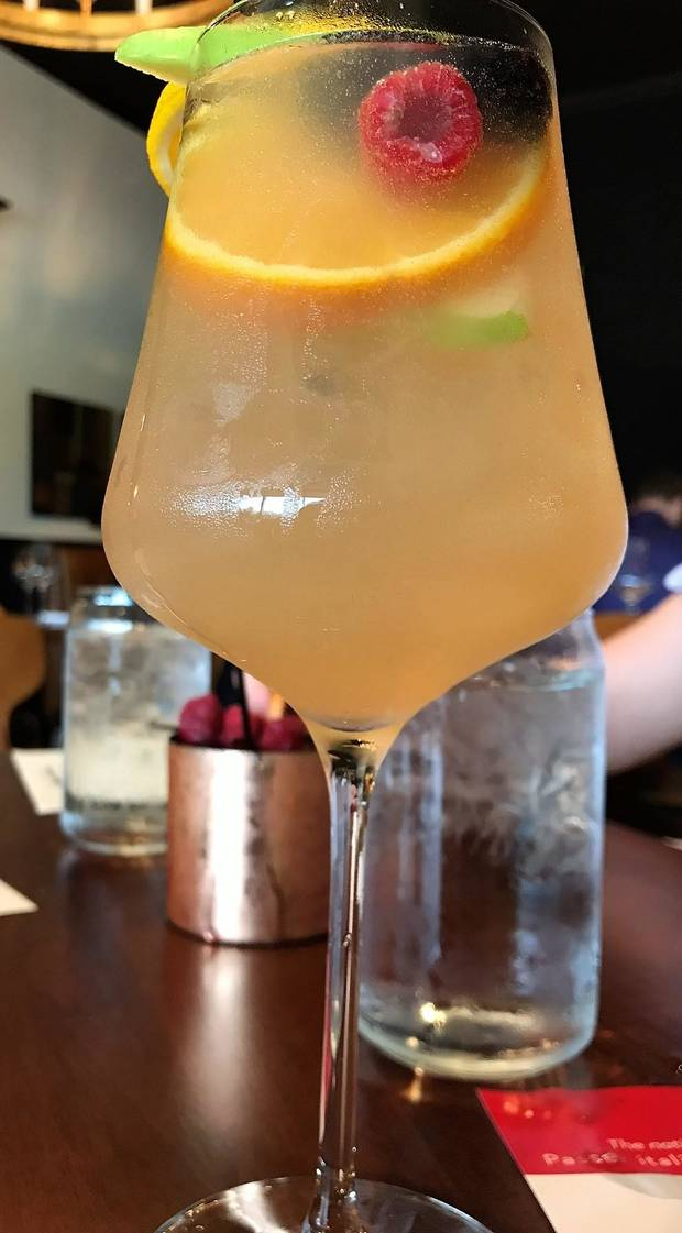 White Summer Sangria from Sparrow Modern Italian in Edmond. [Dave Cathey/The Oklahoman]