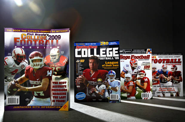 photo - As college football season nears, fans are rushing out to grab the pre-season magazines. (Photo Illustration by Chris Landsberger, The Oklahoman)