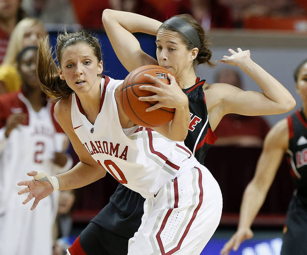 photo - Oklahoma's Morgan Hook, front, gains control of the ball in front of Louisville's Jude Schimmel during the second half of an NCAA college basketball preseason WNIT championship game in Norman, Okla., Sunday, Nov. 17, 2013. Louisville won 97-92. (AP Photo/Bryan Terry)