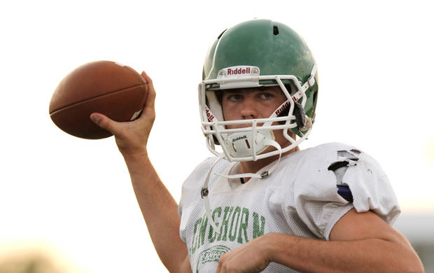 photo - Jones quarterback David Cornwell during a high school football scrimmage between Bethany and Jones at Bethany Bronco Stadium, Thursday, August 22, 2012. Photo by Doug Hoke, The Oklahoman.