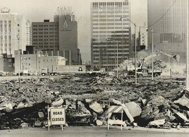 This 1978 photo shows mounds of debris and dirt where foundations and street pavement were being removed to make way for the Myriad Gardens project. [Photo by Roger Klock, The Oklahoman Archives]
