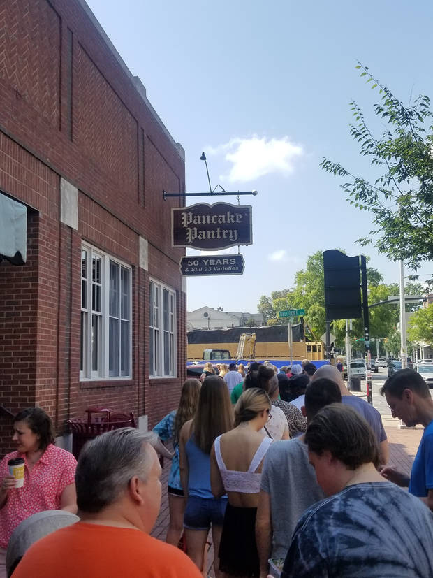 A line of people wait to get into the Pancake Pantry in Nashville. (Photo by J.J. Argyle)