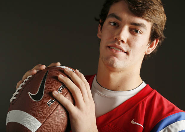 photo - Little All-City high school football player Austin Brooks of Oklahoma Christian School poses for a photo in Oklahoma City, Wednesday, Dec. 19, 2012.  Photo by Nate Billings, The Oklahoman