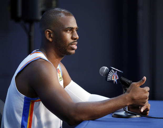 Oklahoma City's Chris Paul speaks during media day for the Oklahoma City Thunder NBA basketball team at Chesapeake Energy Arena in Oklahoma City, Monday, Sept. 30, 2019. [Nate Billings/The Oklahoman]