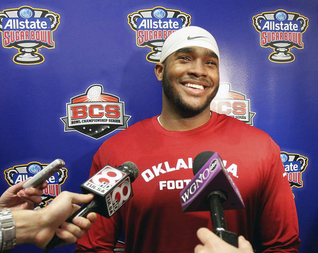 photo - Oklahoma linebacker Dominique Alexander (42) talks with the media NCAA college football practice at the New Orleans Saints training facility in Metairie, La., Saturday, Dec. 28, 2013.  Oklahoma will play Alabama in the Sugar Bowl on Jan. 2, 2014. (AP Photo/Bill Haber)