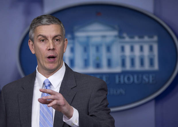 photo - FILE - This March 14, 2014 file photo shows Education Secretary Arne Duncan speaking in the Brady Press Briefing Room of the White House in Washington. (AP Photo/Manuel Balce Ceneta, File)