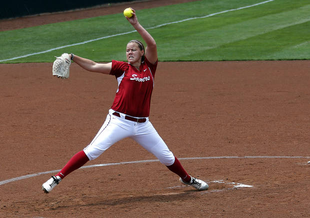 photo - UNIVERSITY OF OKLAHOMA / COLLEGE SOFTBALL / NCAA REGIONAL TOURNAMENT: Oklahoma's Keilani Ricketts throws a pitch during the Norman Regional of the 2013 NCAA Division I Softball Women's College World Series as the University of Oklahoma (OU) Sooners play the Arkansas Razorbacks at Marita Hines Field, Sunday, May 19, 2013. Photo by Sarah Phipps, The Oklahoman