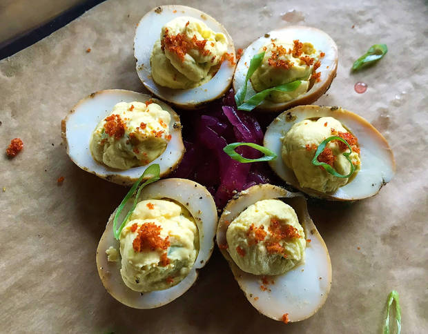Deviled eggs from The Smoking Boar in northwest Oklahoma City last week. [Dave Cathey/The Oklahoman]
