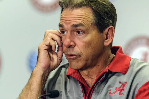 photo - Alabama coach Nick Saban speaks during an NCAA spring college football news conference, Saturday, April 13, 2013, at Bryant-Denny Stadium in Tuscaloosa, Ala.  (AP Photo/AL.com, Vasha Hunt) MAGS OUT  ORG XMIT: ALBIN106