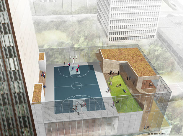 photo - This rendering shows a rooftop basketball court overlooing Kerr Park that will be part of a new building planned by SandRidge Energy. Rendering Provided By SandRidge