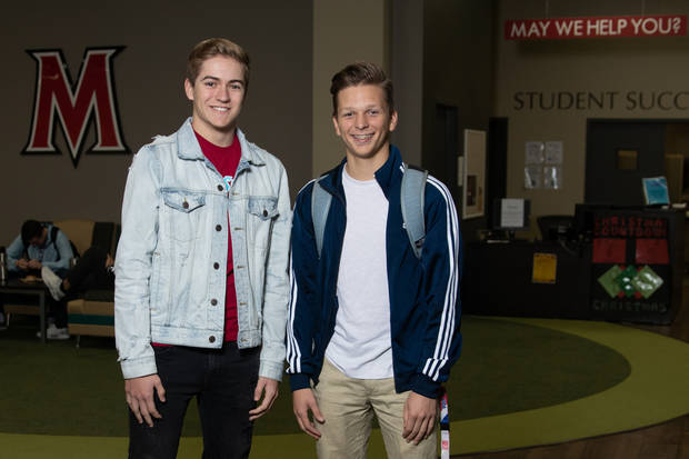 Newcastle High School juniors Josh Lewis and Blake Sanders are two of many OKC area students taking concurrent classes at MACU. (Photo provided by MACU)