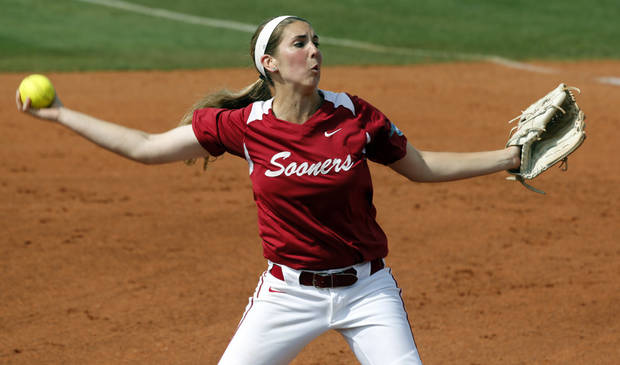 photo - Oklahoma's Kelsey Stevens pitches as the University of Oklahoma Sooner (OU) softball team plays Tennessee in game two of the NCAA super regional at Marita Hynes Field on May 24, 2014 in Norman, Okla. Photo by Steve Sisney, The Oklahoman