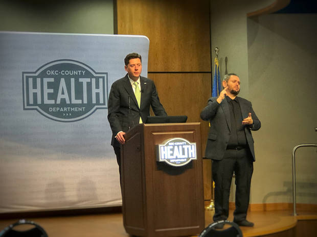 Oklahoma City Mayor David Holt went to the Oklahoma City-County Health Department Tuesday afternoon to announce he was expanding emergency restrictions, including closures, to restaurants and bars to try to arrest the spread of coronavirus. [Dave Morris/The Oklahoman].