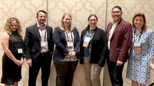 Each year, Oklahoma is well represented at the Society for Research on Nicotine and Tobacco Conference. Oklahoma Tobacco Research Center scientists helped to lead a pre-conference workshop this year. From left are Darla Kendzor, Michael Businelle and Emily Hébert, all of OTRC; and Andrea Weinberger, Yeshiva University; Francisco Cartujano-Barrera, The University of Texas MD Anderson Cancer Center; and Lisa Cox, University of Kansas. A total of 18 symposia, papers and posters by OTRC faculty, post-docs and staff were accepted for presentation at the conference earlier this year.