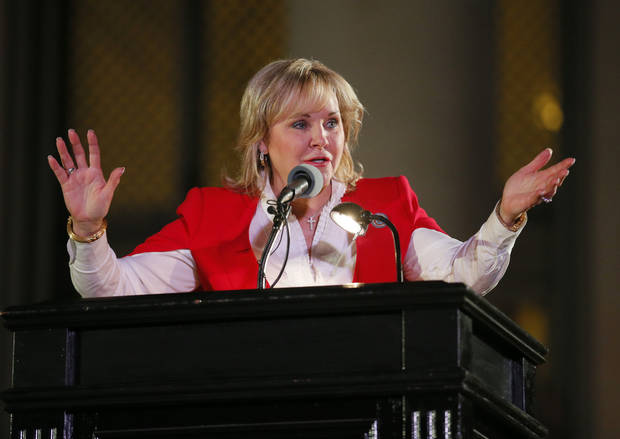 Gov. Mary Fallin speaks during the Governor's Christmas Tree Lighting Ceremony at the state Capitol in Oklahoma City, Tuesday, Nov. 29, 2016. Photo by Sarah Phipps, The Oklahoman