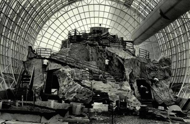 In May 1986, molded fiberglass and concrete panels had been installed in the north end of the Myriad Gardens botanical tube. [Oklahoman Archive Photo]