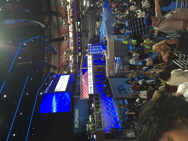 Convention Center Stage -- Photo via Bill Dower, an Oklahoma delegate attending the Democratic National Convention in Philadelphia.