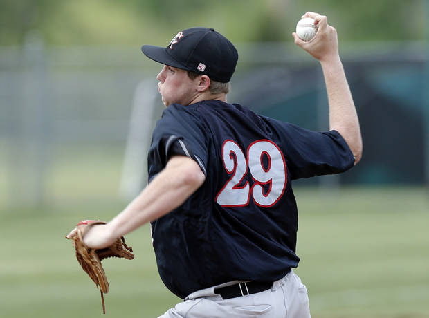 photo - Carl Albert's Gavin Lavalley pitches during the 5A high school baseball state championship tournament at Edmond Memorial High School in Edmond, Okla.,  Friday, May 10, 2013. Photo by Sarah Phipps, The Oklahoman