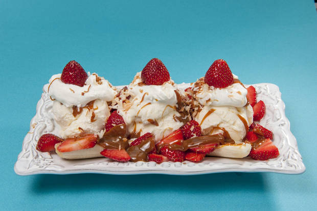 photo - This is a banana split made with dulce de leche and strawberries. (Gordon M. Grant/Newsday/MCT)